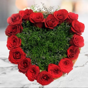 Heart Shape Roses 17 Red Roses Online - Online Flower Delivery In Kurukshetra