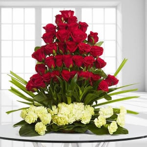 Classic Celebrations 30 Red Roses 20 Yellow Carnations - Send Valentine Gifts for Her