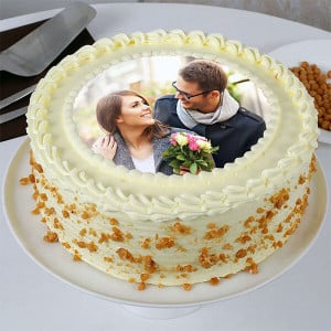 Round Butterscotch Photo Cake - Send Personalised Photo Cakes Online