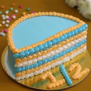 Lovely Blue & Beige Half Cake