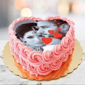 Joy Of Love Photo Cake Heart Shape - Cake Delivery in Mumbai