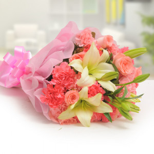Pink Style Mix Flowers - Online Flower Delivery In Kurukshetra