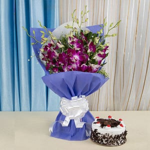 Exotic Orchids n Cake Hamper - Wedding Anniversary Bouquet with Cake Delivery