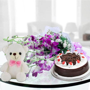 6 exotic purple orchids teddy and cake - Wedding Anniversary Bouquet with Cake Delivery