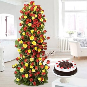 Love Forever 10 Red Yellow Roses with 500gm Black Forest Cake - online flowers delivery in dera bassi