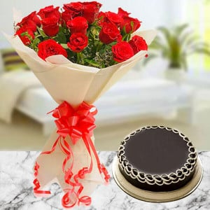 10 Red Roses with Cake - Cake Delivery in Mumbai