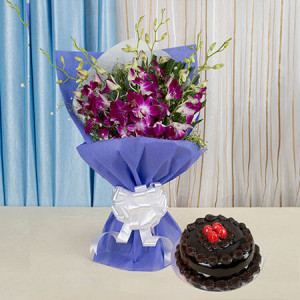 Something Special For You - Wedding Anniversary Bouquet with Cake Delivery
