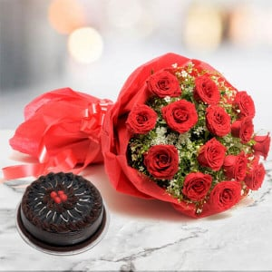 12 Roses N Chocolate Cake - online flowers delivery in dera bassi