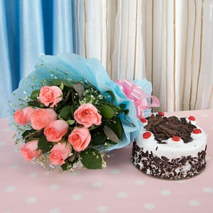 Fresh Blush Flowers 8 Pink Roses with Black Forst Cake - Wedding Anniversary Bouquet with Cake Delivery