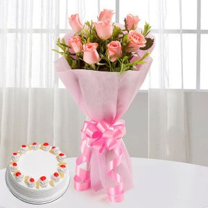 Elegant Wishes 8 Pink Roses with Pineapple Cake - online flowers delivery in dera bassi