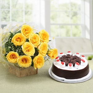 Starburst Yellow Roses N Cake - Wedding Anniversary Bouquet with Cake Delivery