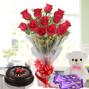Flower Cake Hamper - 12 red roses chocolate cake teddy chocolate bars - Wedding Anniversary Bouquet with Cake Delivery