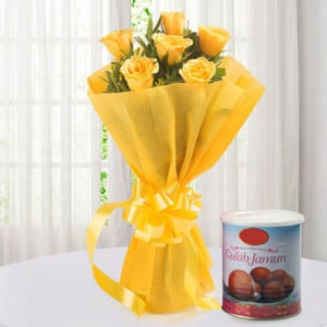 Roses N Gulab Jamun - Wedding Anniversary Bouquet with Cake Delivery