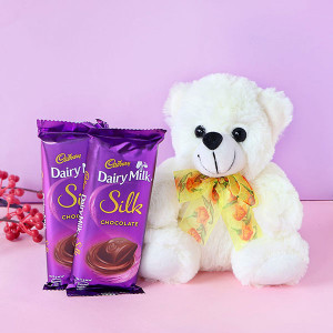 Teddy Bear with Two Cadbury Dairy Milk Silk Bars