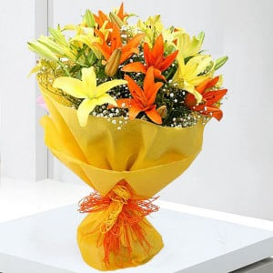 Always and Forever 12 Mix Colour Lilies - Online Flower Delivery In Kurukshetra