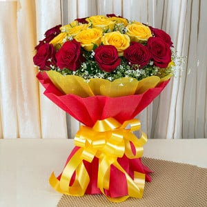 Big Hug 50 Red Yellow Roses - Send Valentine Gifts for Her
