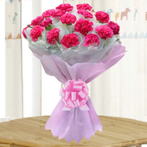 Bright Fervor 20 Pink Carnations - Send Valentine Gifts for Her