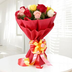 Colorful Charm 12 Mix Roses - Send Flowers to Amreli Online