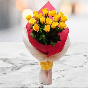 Thinking Of You 15 Yellow Roses Online - Send Congratulations Gifts Online