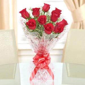 Red Roses Bouquet 10 Red Roses - Send Flowers to Amreli Online
