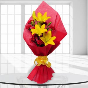 Beautiful Bouquet 10 Red Carnations and 3 Yellow Lilies - online flowers delivery in dera bassi