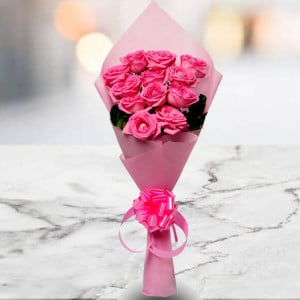 Pink Beauty 12 Pink Roses Online - Send Flowers to Belur Online