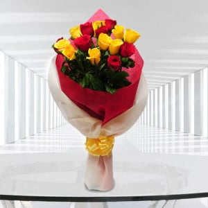 Big Hug 9 Red and 9 Yellow Roses - Send Valentine Gifts for Her