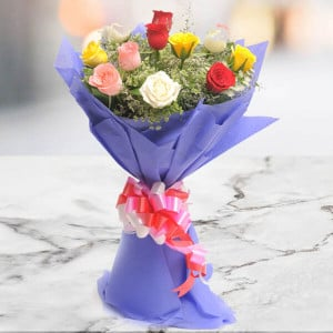 Best Wishes 12 Mix Colour Roses - Send Flowers to Amreli Online