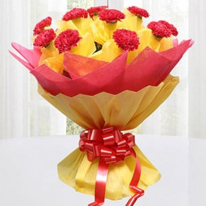 Precious Love 12 Red Carnations Online - Online Flower Delivery In Kurukshetra