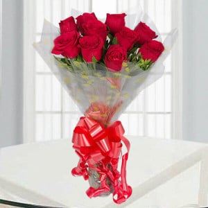 Vivid 10 Red Roses - Send Flowers to Belur Online