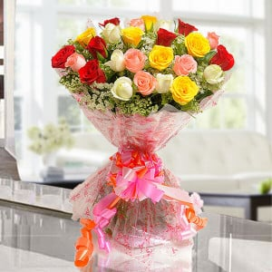 Elegant Mix 25 Mix Roses Online - Send Flowers to Calcutta