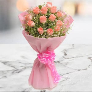 Blush 15 Pink Roses Online - Send Flowers to Amreli Online
