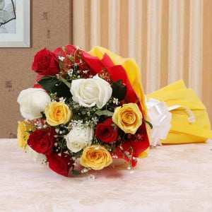 Colorful Hue 10 Mix Roses Online - Send Flowers to Amreli Online