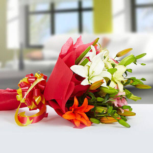 Exotic 12 Mix lilies - Online Flower Delivery In Kurukshetra