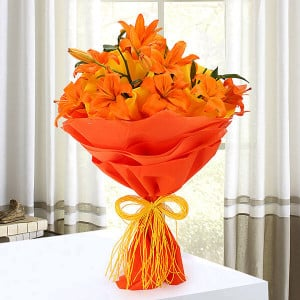 Beauty In Fire 6 Orange Lilies Online - Send Flowers to Dehradun