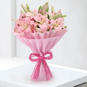 Exotic 6 Pink Lilies Online - Send Flowers to Dehradun