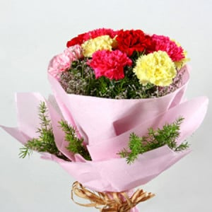 Multicolored Carnations - Online Flower Delivery In Kurukshetra