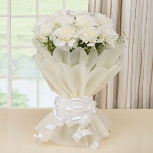 10 White Carnations Online - online flowers delivery in dera bassi