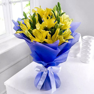 Asiatic Lilies 6 Yellow Lilies Online - Online Flower Delivery In Kurukshetra