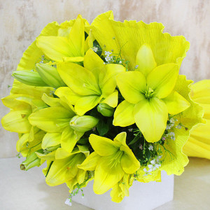 Green Light For Love 6 Yellow Lilies Online - Online Flower Delivery In Kurukshetra