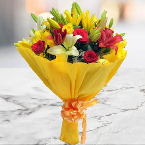 Mixed Roses N Lilies - Online Flower Delivery In Kurukshetra