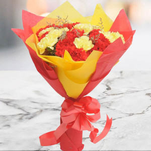 Yellow N Red Carnations - Online Flower Delivery In Kurukshetra
