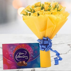 Yellow Roses with Celebration Chocolates - Wedding Anniversary Bouquet with Cake Delivery