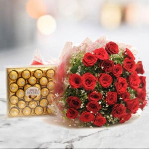 Yummy N Rosy - 30 Red Roses with 24 pc Ferror Rocher - Wedding Anniversary Bouquet with Cake Delivery