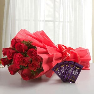 Rosy N Sweet - 12 Red Roses with 5 Chocolates - online flowers delivery in dera bassi