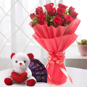 Perfect Love Combo 12 Red Roses 5 Chocolate Teddy - Wedding Anniversary Bouquet with Cake Delivery