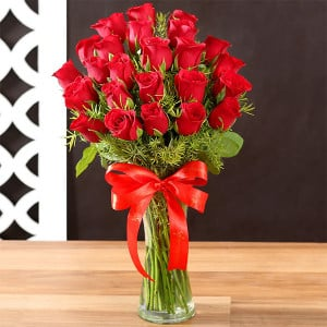 24 Red Roses In Glass Vase