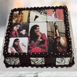 Collage Photo Cake Chocolate Sponge - Birthday Cake Online Delivery - Send Personalised Photo Cakes Online
