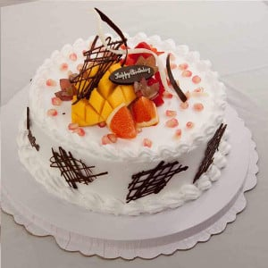 Pineapple With Fruits Cake Half Kg - Cake Delivery in Mumbai