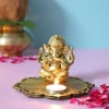 Siddhi Ganesha With Decorative Wooden Tray Base And T Light